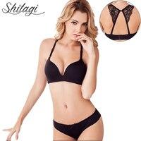 Balaloum Women Sexy Seamless Bra Plus Size Solid Lingerie Set Push Up Ladies Underwears Unique Back