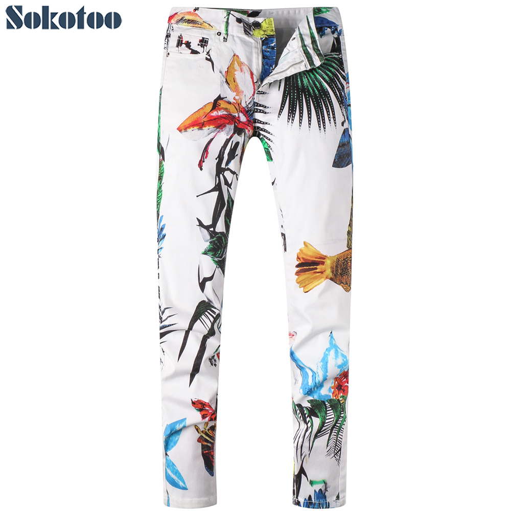 Sokotoo Men's white flower colored painted print   jeans   Fashion slim straight denim pants