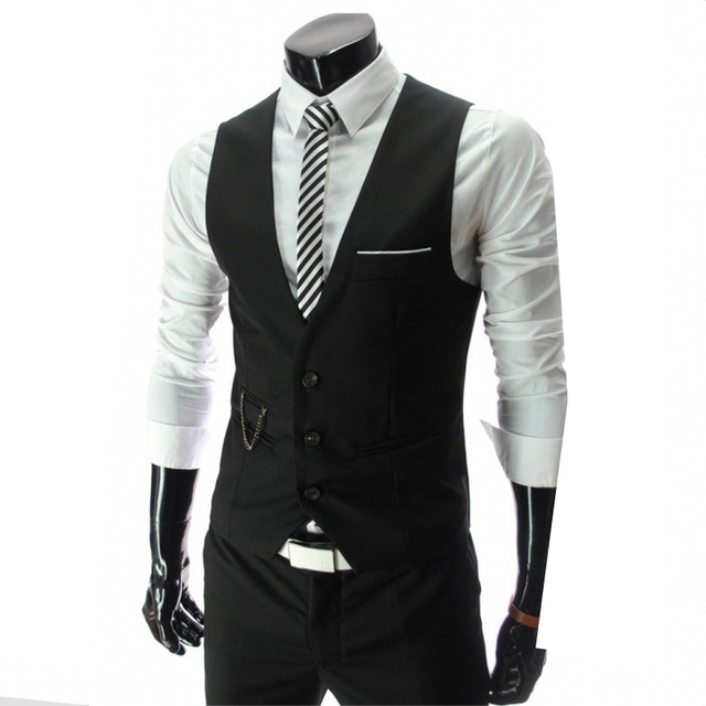 S-XXXL 2017 stylish men fall slim fit high-end business suit vest/Male leisure v-neck cotton vest/groom dress Black formal