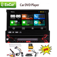 ,1 Din DVD CD Player with Detachable Panel,Wireless Remote,8GB Map Card Single DIN Head Unit AM FM RDS Radio Receiver In Dash
