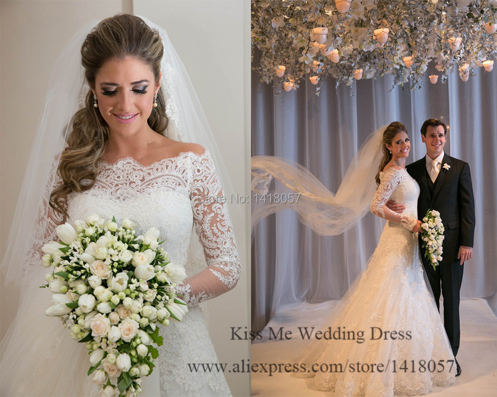 A Line Wedding Gown With Sleeves: 2015 New Fashionable Lace Wedding Dresses Long Sleeve