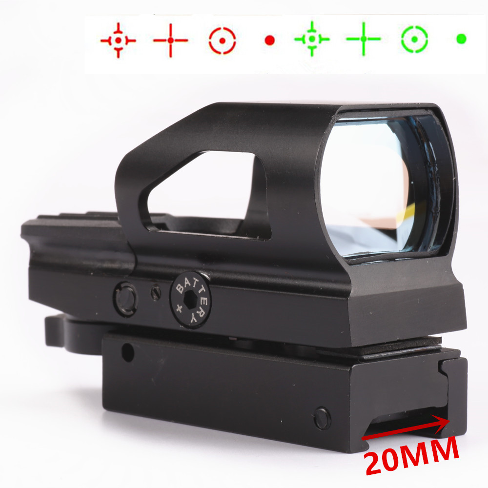 Tactical Holographic 4 Reticle Red Dot Laser Sight Green Red Dot Sight Touch-tone Metal Scope Weaver 20mm Picatinny Rail Mount