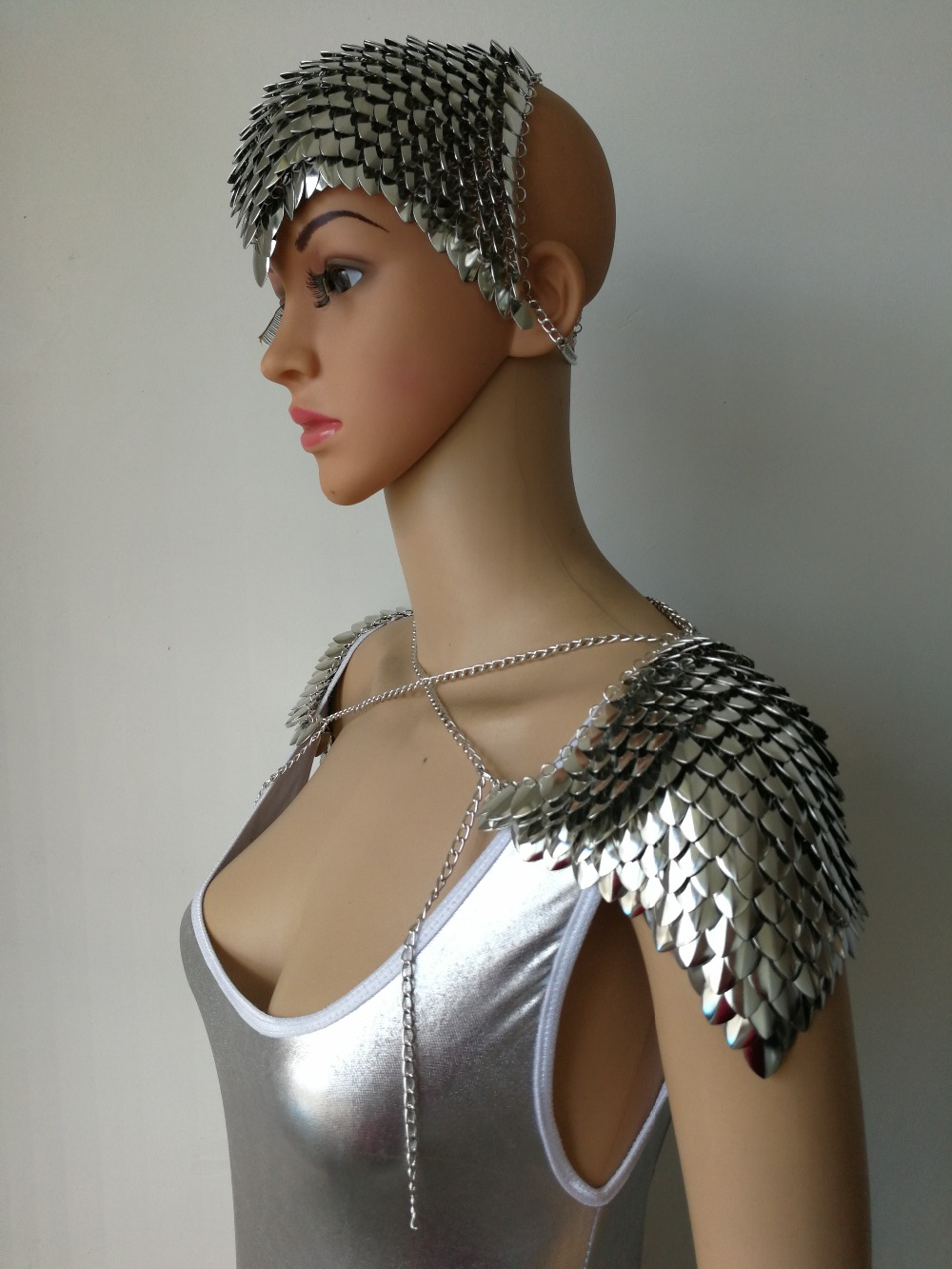 Image 2 - New Fashion Scalemail Mermaid Fish Scales Head Chains Layers  Scale Chainmail Silver Fish Scale Head Hair Chains JewelryChain  Necklaces