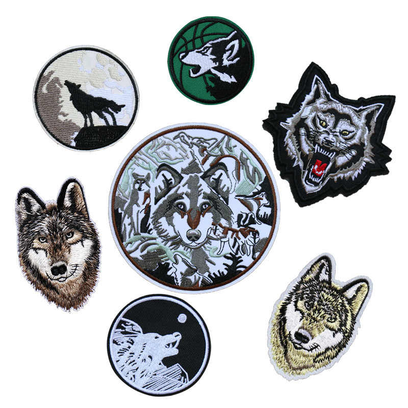 PGY 1PCS Punk Wolf Series Patches for Clothes Animal Sticker On Clothing Diy  Patch Cool Coat Appliques Garment Decor Parches