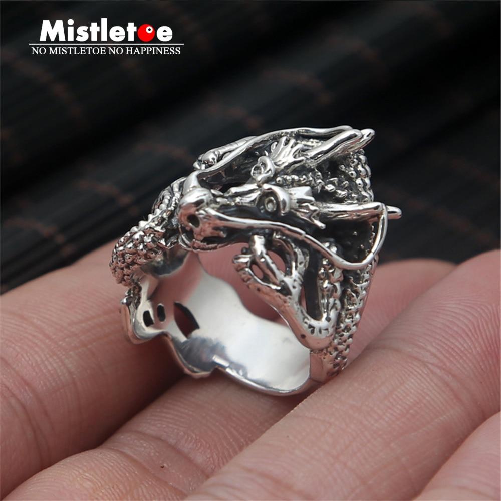 Genuine 100% 925 Sterling Silver Vintage Retro Punk Dragon Ring For Women Men Fashion Jewelry vintage retro 100