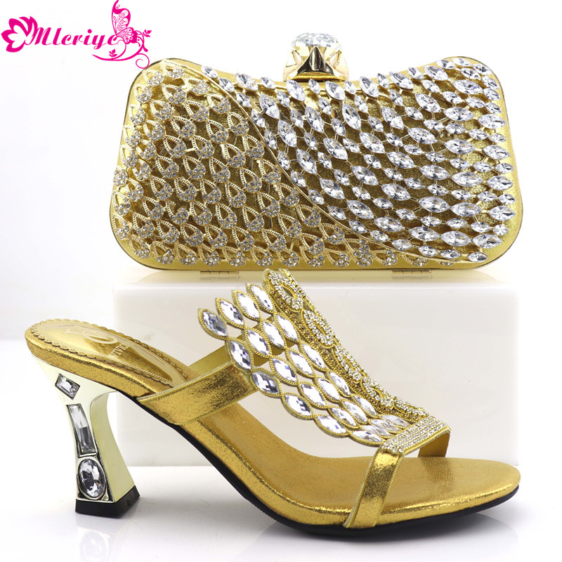 b1be0af3971f 0857-gold New Arrival Women Shoes and Bags To Match Set Italy Shoe and Bag