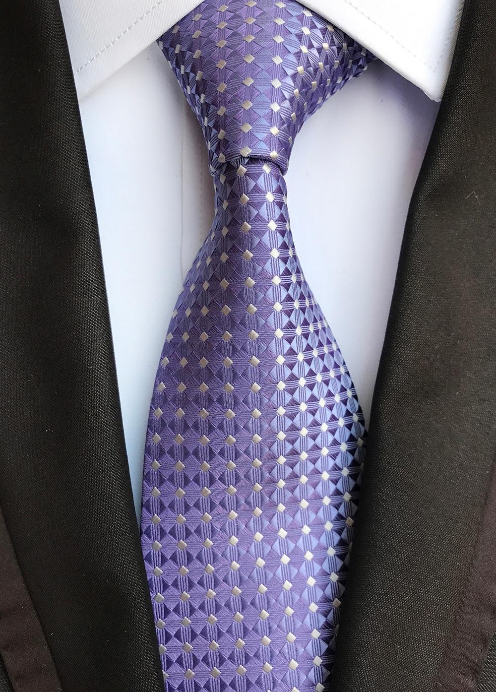 Designer's Fashion Men Plaids Tie Famous Brand Man Necktie Lavender Purple With Silver Diamond Grids