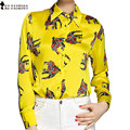 Moet &She High Quality Ladies Shirt Blouse Silk Love Animal Elephant Pattern Green Yellow Rose Red Stylish Tops Women T69910R