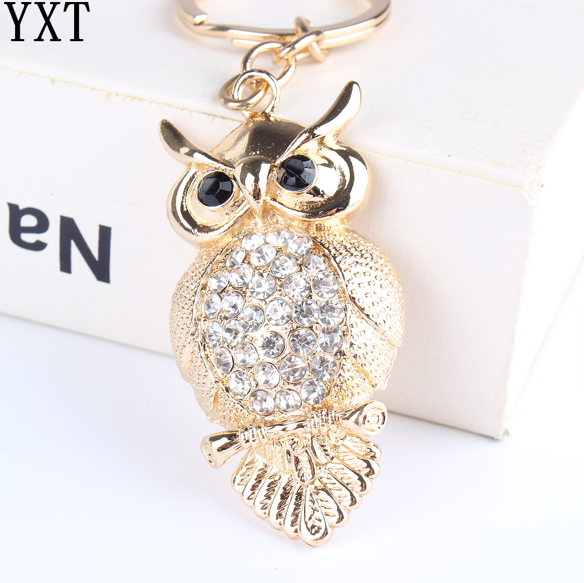 Owl Bird Turtle Pendant Charm Rhinestone Crystal Purse Bag Keyring Key Chain Accessories Wedding Party Lover Friend Gift