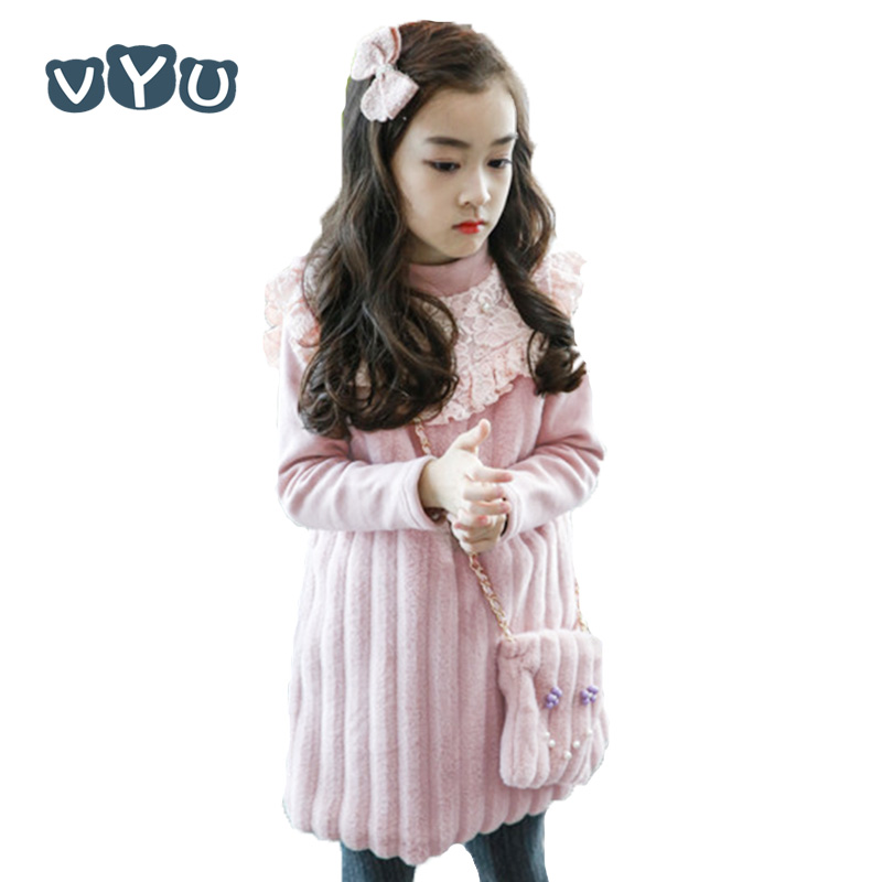 VYU Autumn Winter Dress+ Bag 2pcs for Girls Princess Lace Dresses 2-8 Yrs Baby Girl Clothes Baby Clothing for Wedding Party little girls vest dress winter 2017 autumn winter baby girl dresses kids top clothes with bow children clothing for 2 8 years