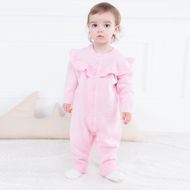 Winter christmas baby girls lacework wool rompers newborn jumpers children climbing sweater new years stuff goods 17S907