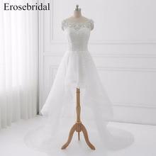 2019 New High Low Wedding Dresses Erosebridal A Line Bridal Gowns Beading Appliques Bodice Button Back Vestido De Noiva