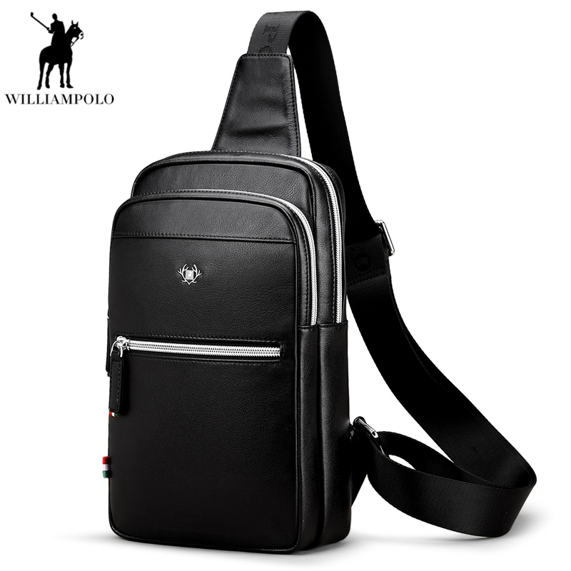 WilliamPolo Men Chest Bag Famous Brand Genuine Leather Shoulder Bags Fashion Travel Crossbody Bag Man Messenger Bag PL011D famous brand men chest bags theftproof open fashion leather travel crossbody bag man messenger bag crazy horse leather bag chest
