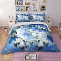 Wolf Bedding Set with pillow case Twin Full Queen King UK Double AU Single 3D Duvet Cover quilt cover Totem Bed Linen new 3pcs