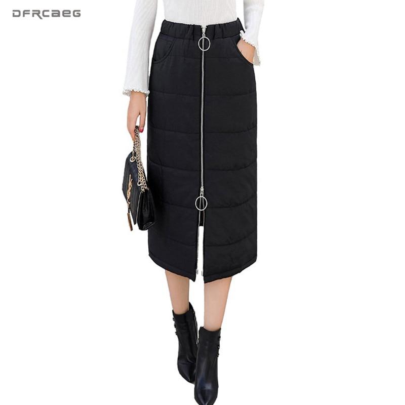 Warm Elastic Waist Down Cotton Pencil Skirts Women 2018 Winter New Arrivals Zipper Thicken Long Skirt Black Saia Longa Female