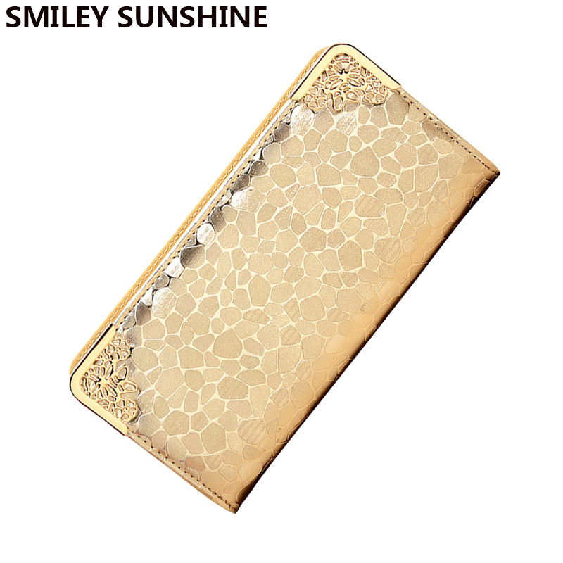 SMILEY SUNSHINE luxury women wallets wristlet female gold big wallet for women famous brand ladies clutch purses long wallet bag