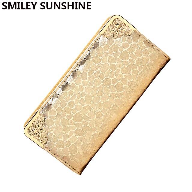 bdd4efd35ac SMILEY SUNSHINE luxury women wallets wristlet female gold big wallet for women  famous brand ladies clutch
