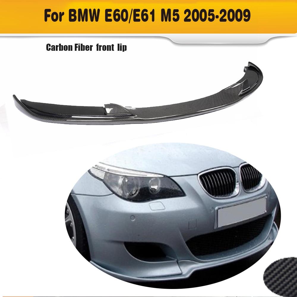 цена на Carbon Fiber Front Bumper Lip Spoiler For BMW E60 M5 Bumper 2005-2009 HM Style
