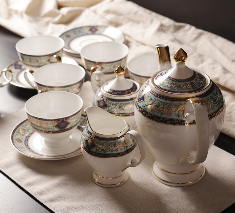 Bone China Royal 15 Pieces Coffee Tea Set On Glazed Export