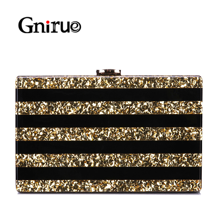 Wallet Purses Acrylic-Bags Evening-Clutch-Bag Sequins Patchwork Party Black Luxury Women