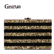 Nowy czarny, patchworkowy torby akrylowe luksusowe cekiny kobiety Messenger torby wieczorowa kopertówka na imprezę bal torebka koktajlowa portfele portfel