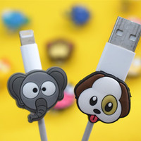 100pcs Animal Silicone USB Cable Protector Data Line Cord Protection Case Cable Winder Cover For iPhone 5 6 6s 7 8 Samsung