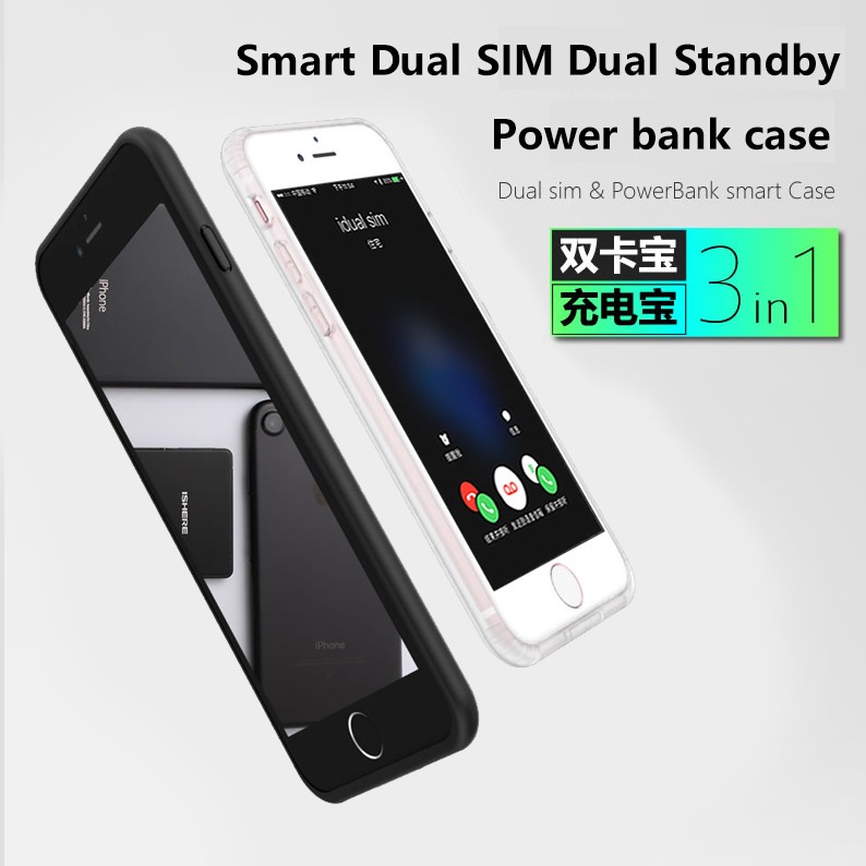iPhone 6/7/8 plus New Ultrathin Bluetooth Dual SIM Dual Standby Adaper Long Standby 7days with 1500/2300 mAh Power Bank,cases умные часы smart watch y1