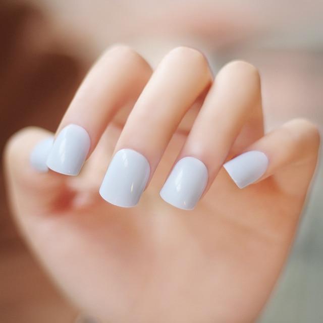 High Quality Pure Color Series Light Blue False Nails Set Cute Fake Short Size
