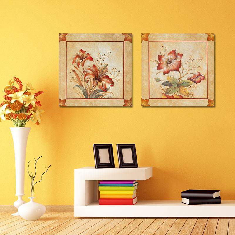 Retro Fashion 2pcs/set red flowers decoration posters wall art ...