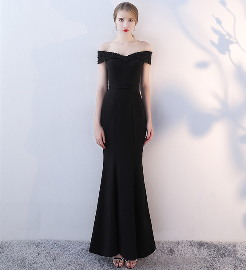 Holievery perles épaule dénudée sirène robes de soirée noir 2019 Vestido Longo Festa Sexy longues robes de soirée Abito Da Sera