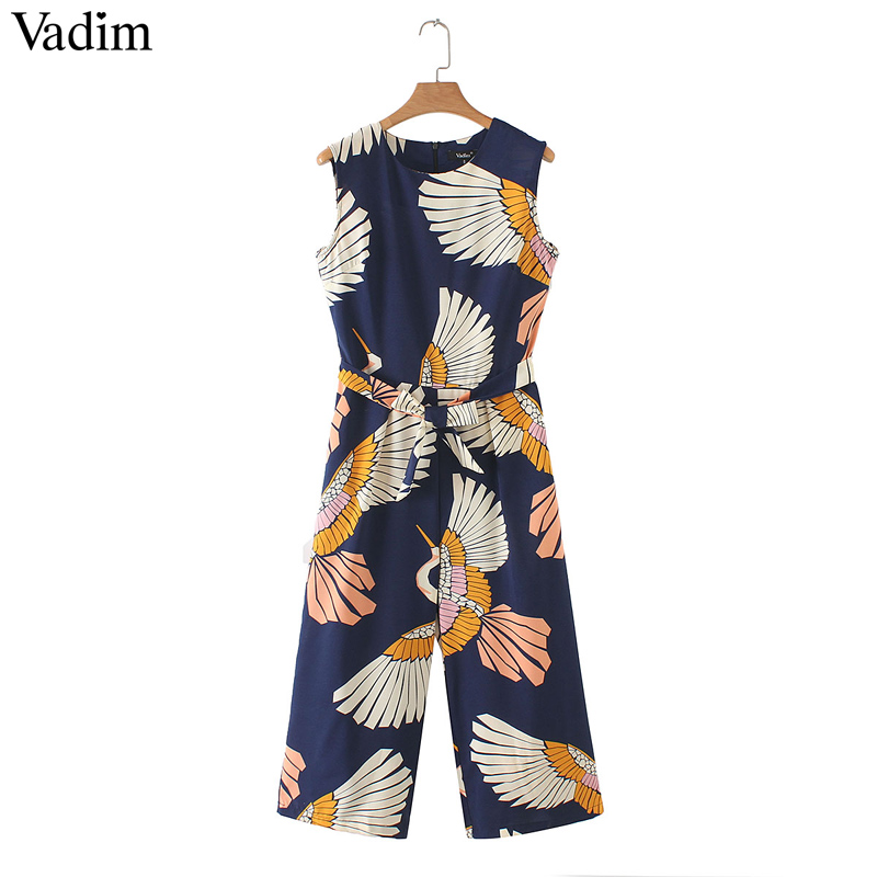 Vadim women cute crane print jumpsuits bow tie sashes pockets sleeveless pleated rompers retro ladies casual jumpsuits KA140(China)