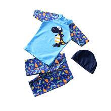 3pcs/set Boy Cute Swimming Suit Sunscreen Tops + Shorts Hat