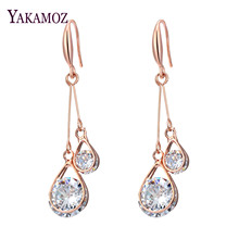 Fashion Jewelry 2017 Long Drop Dangle Earrings Rose Gold Color Zircon Hollow Ball Water Drop For Women Wedding Party