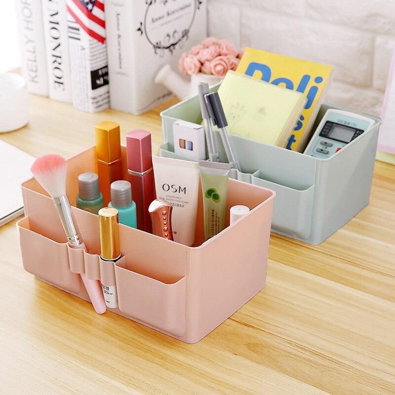 4Color Plastic Desktop Storage Box Women Makeup Cosmetic Toiletries Organizer Home Office Sundries Storage Box Case