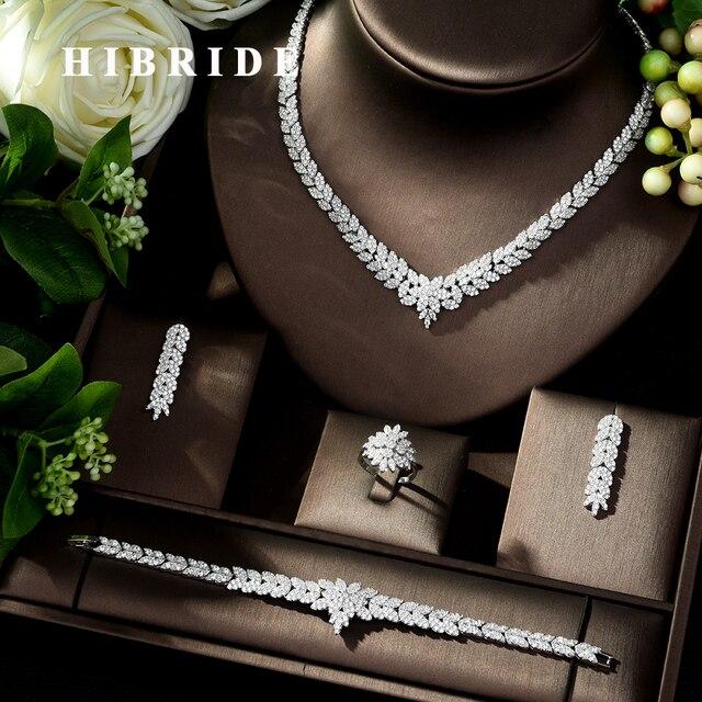 Hibride zircão do vintage conjunto de jóias brilhando pedra cúbica grande casamento nupcial e aniversário 4 pçs colar conjunto de jóias N 178