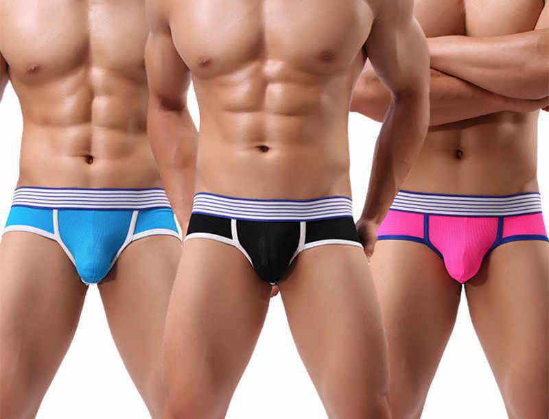 3 יחידות Trunk גברים של מתאגרפים חוטיני פתוח התחת סקסי תחתוני גברים תחתוני זכר תחתוני מכנסיים U קמור פאוץ הומו לנשימה מתאגרפים