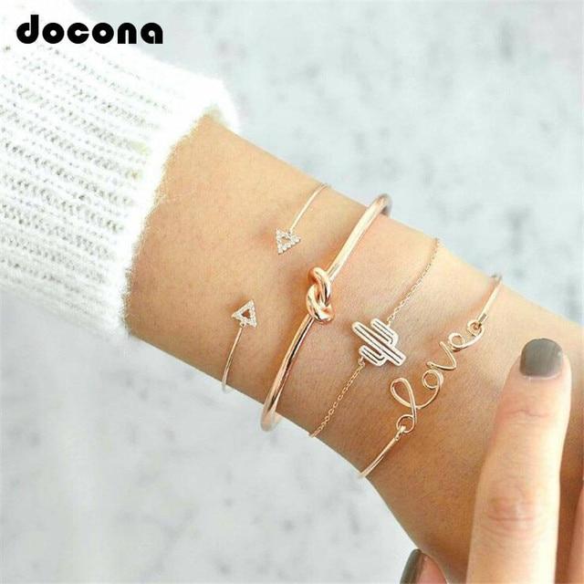 Docona 4pc/set Trendy Bohemia Cactus Love Hand Cuff Charm Adjustable Bracelet Bangle for Women Gold Bracelets Femme Jewelry 6116