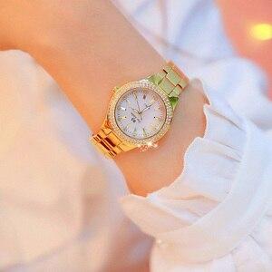 Image 2 - Женские кварцевые часы, из нержавеющей стали, с кристаллами, розовое золото, 2019