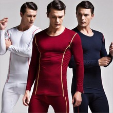 Quality Men's Autumn/Spring Long Johns set O Neck snug Bamboo Fiber/ Cotton underwear Sexy elasticity thermal heat go well with