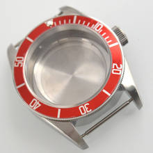 41mm Sapphire Glass red aluminum Bezel Watch Case fit ETA 2824 2836 MOVEMENT(China)