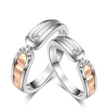 18K Two-Tone Gold Natural Diamond Ring Couple Set Wedding Band Handmade Engagement Jewelry Free DHL Shipping Rose & White Gold