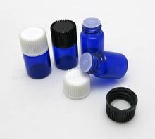 Botella de aceite esencial de vidrio azul cobalto de 100x2 ml con tapa de plástico botella de vidrio de 2ml Mini viales de vidrio azul Mini contenedor de cristal