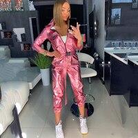 Streetwear PU Leather Pink Silver Gliter Long Sleeve Bodycon Jumpsuit Sexy Women Autumn Winter Belt Romper Night Club Overall