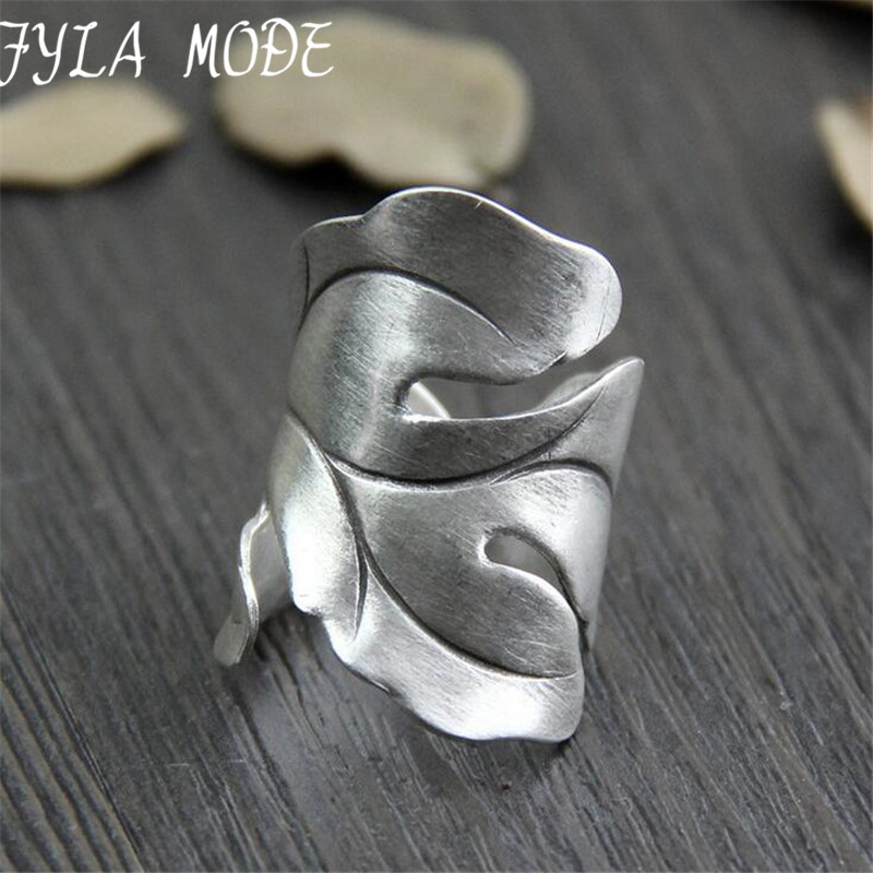 999 Silver Jewelry Ring For Women Thai Silver Ring Vintage Leaf Lady Ring Adjustable Antique Accessory Width 29mm Weight 6.60g trendy environmental alloy openwork width ring for women