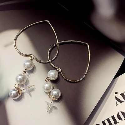 Korea Style Big Love Heart Drop Earrings Fashion designer Imitation Pearl Earrings For Women Girls Statement Ear Jewelry 2018