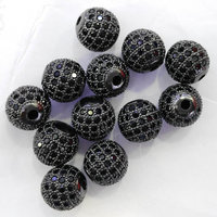 AAA Grade 12pcs 6-16mm gold Silver Plated Clear White CZ Cubic Zirconia Pave Micro Setting black jet Round Beads