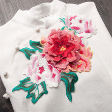 1 Piece Big Flower Embroidered Sew on Patches for Clothing Floral Patches Garment Applique Cheongsam Accessory