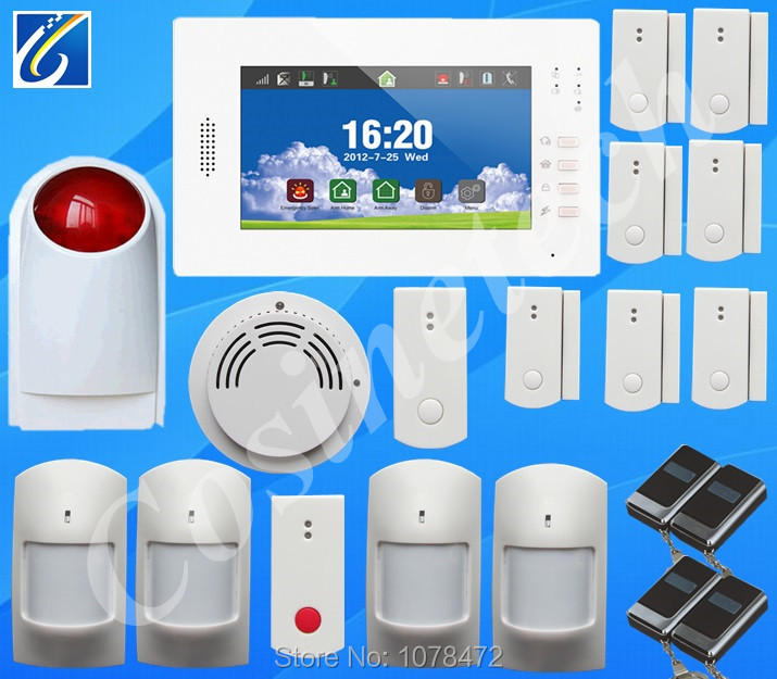 HOT sales 868MHZ home alarm system with operate menu in language English/German/Italian/Dutch/French/Czech/Finnish for option gsm alarm system with multi language english german italian dutch menu for option home security 7 inch touch screen home alarm