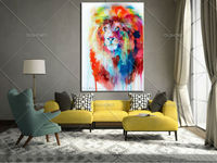 Hand Painted Colorful Horse Head Paintings Wall Painting Picture On Canvas Abstract Decor Animals Modern Oil