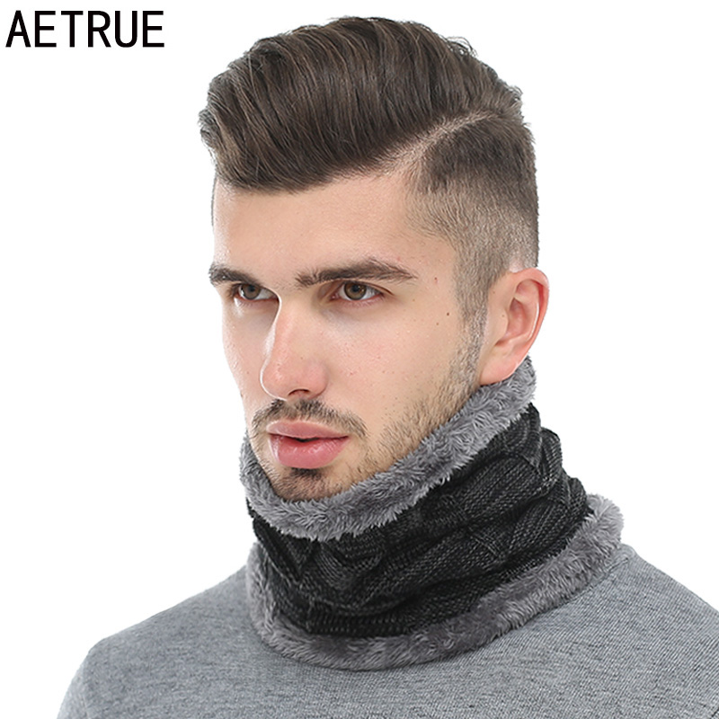 AETRUE Winter Men Scarf Ring Winter Scarves For Men Women Warp Thick Collar Neck Snood Shawl Plaid Warm Fur Soft Male Scarves